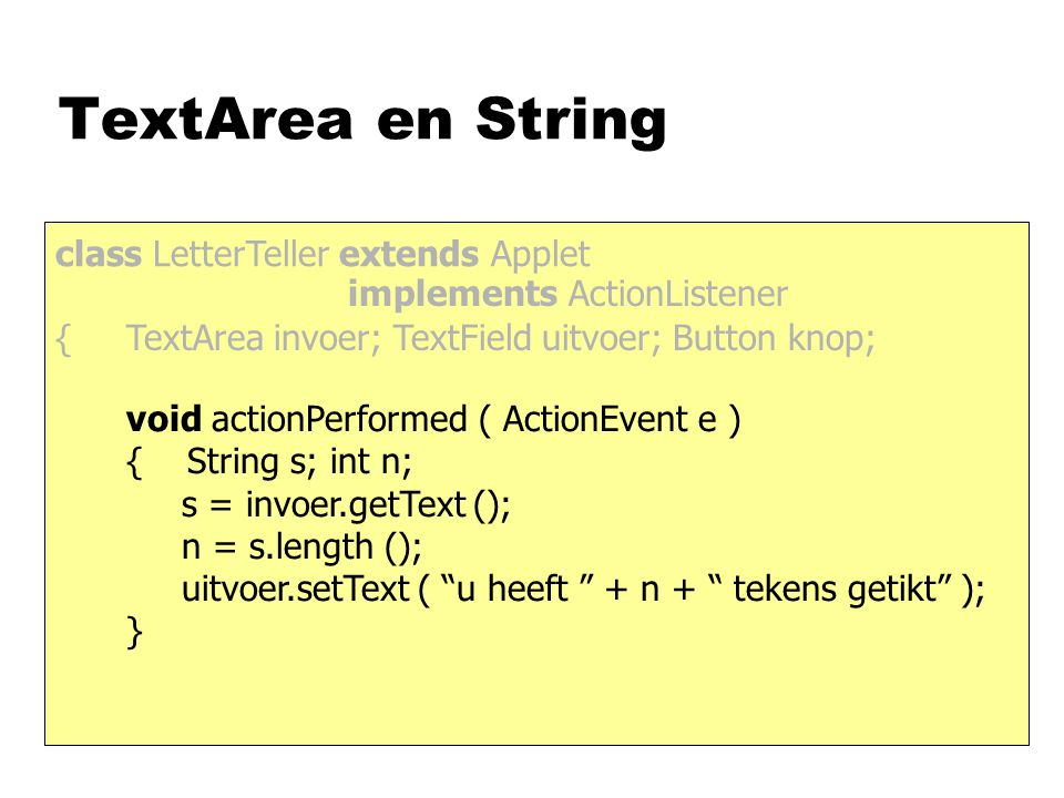Cirkelklikker class Cirkelklikker extends Applet { public void paint(Graphics g) { g.fillOval(x-5, y-5, 10, 10); } public void mousePressed(MouseEvent e) { x = e.getX( ); y = e.getY( ); this.repaint( ); } public void init( ) { this.addMouseListener(this); impl ML int x, y;