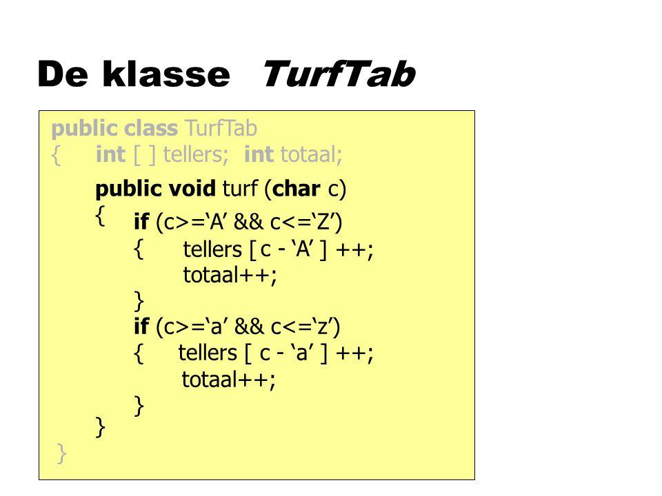 De klasse TurfTab public class TurfTab { int [ ] tellers; int totaal; public void turf (char c) { } tellers [ ] ++; totaal++; } if (c>='A' && c<='Z') { } c - 'A' if (c>='a' && c<='z') { tellers [ c - 'a' ] ++; totaal++; }