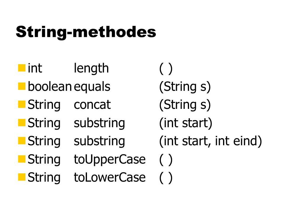 t + : + tellers[t] + keer\n ; De klasse TurfTab public class TurfTab { int [ ] tellers; int totaal; public String toString( ) { } } String result; return result; result = ; result += for (int t=0; t<26; t++) result += totaal: + totaal; ( + 'A')(char)
