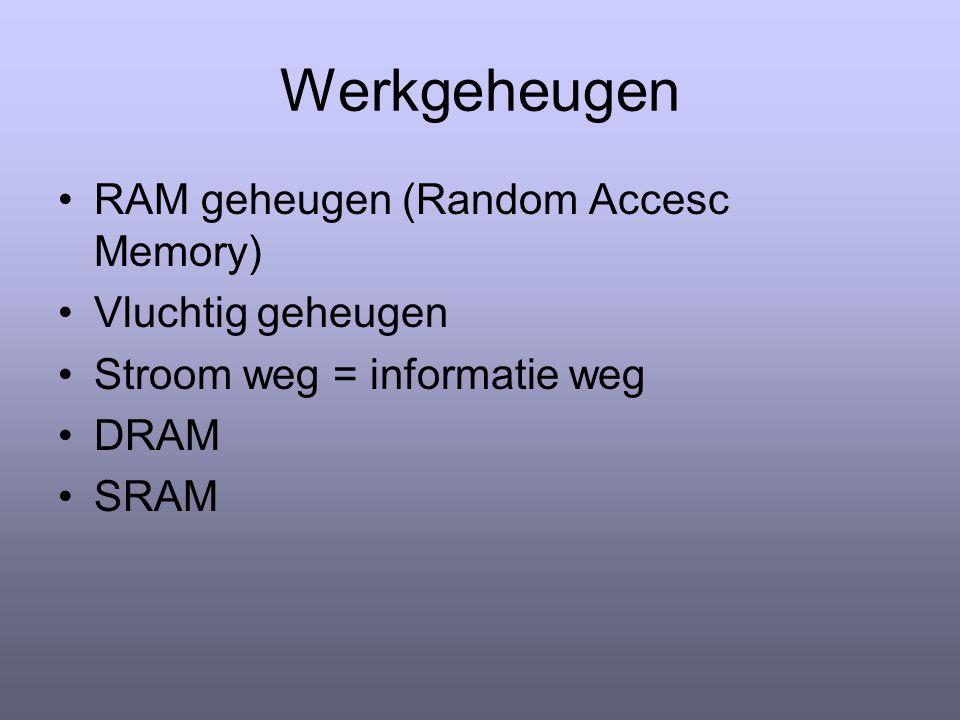Werkgeheugen RAM geheugen (Random Accesc Memory) Vluchtig geheugen Stroom weg = informatie weg DRAM SRAM