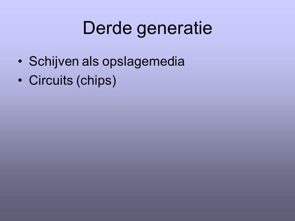 Derde generatie Schijven als opslagemedia Circuits (chips)