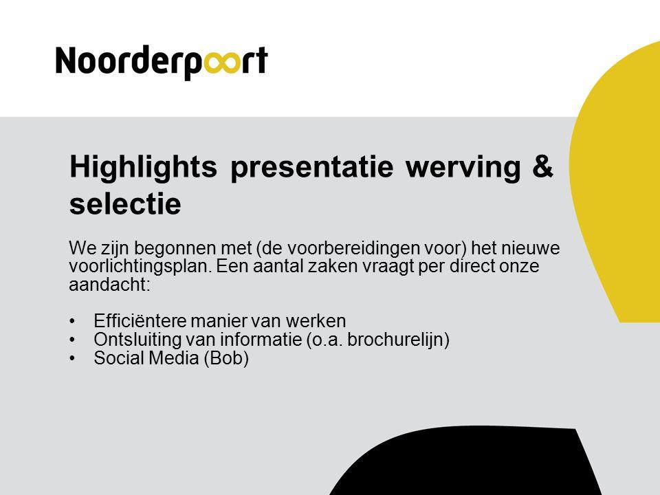 Highlights presentatie werving & selectie We zijn begonnen met (de voorbereidingen voor) het nieuwe voorlichtingsplan.