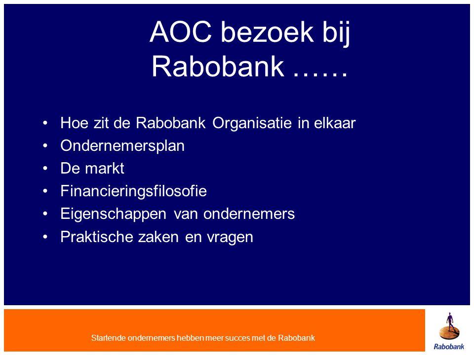 Startende ondernemers hebben meer succes met de Rabobank AOC bezoek bij Rabobank …… Hoe zit de Rabobank Organisatie in elkaar Ondernemersplan De markt