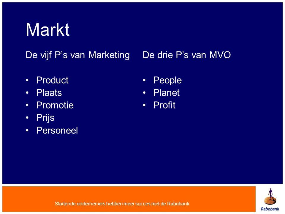 Startende ondernemers hebben meer succes met de Rabobank Markt De vijf P's van Marketing Product Plaats Promotie Prijs Personeel De drie P's van MVO P