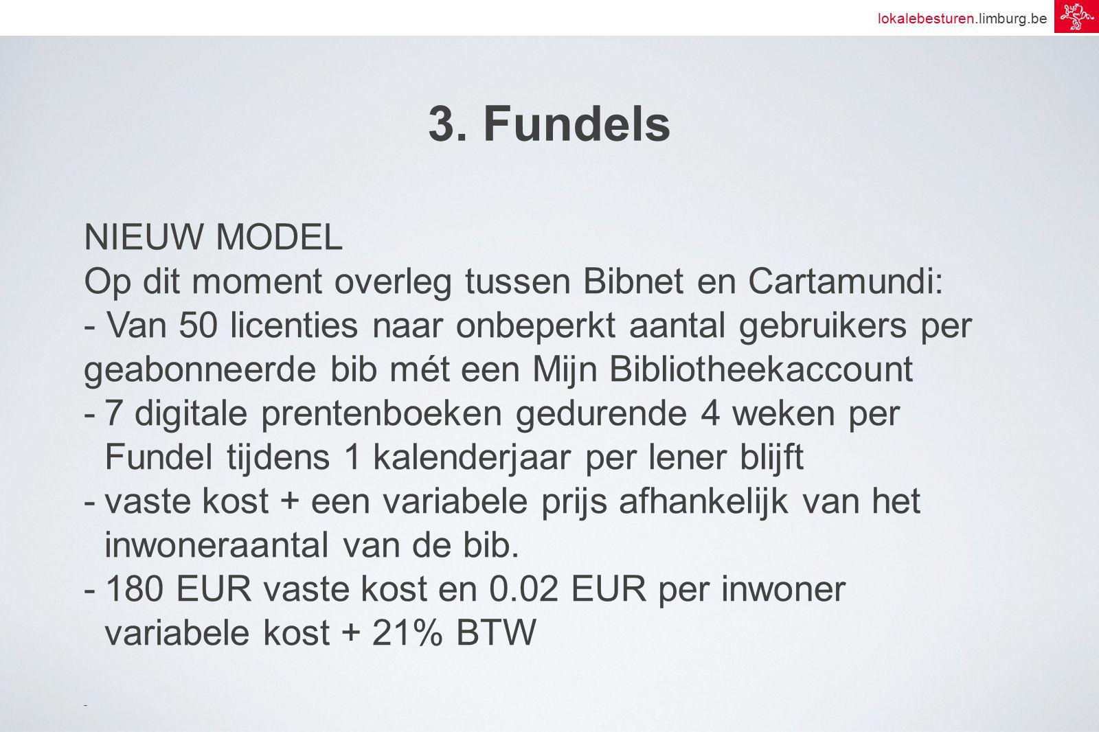 lokalebesturen.limburg.be 3. Fundels NIEUW MODEL Op dit moment overleg tussen Bibnet en Cartamundi: - Van 50 licenties naar onbeperkt aantal gebruiker