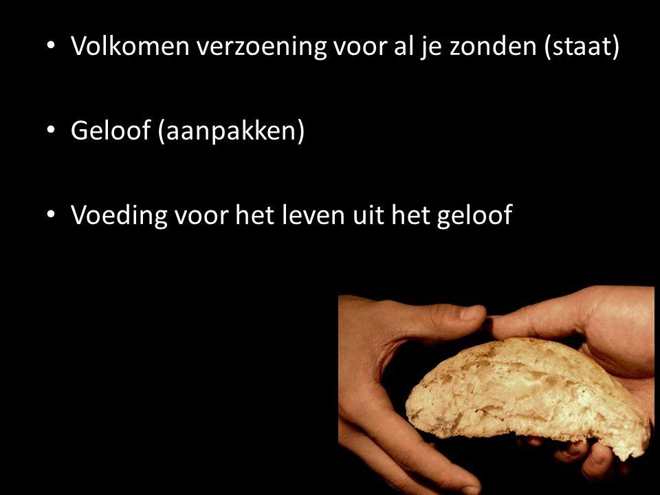 Volkomen verzoening voor al je zonden (staat) Geloof (aanpakken) Voeding voor het leven uit het geloof