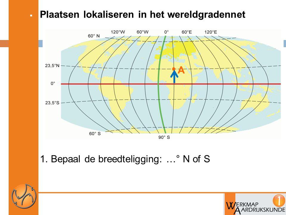  Plaatsen lokaliseren in het wereldgradennet 1. Bepaal de breedteligging: …° N of S A