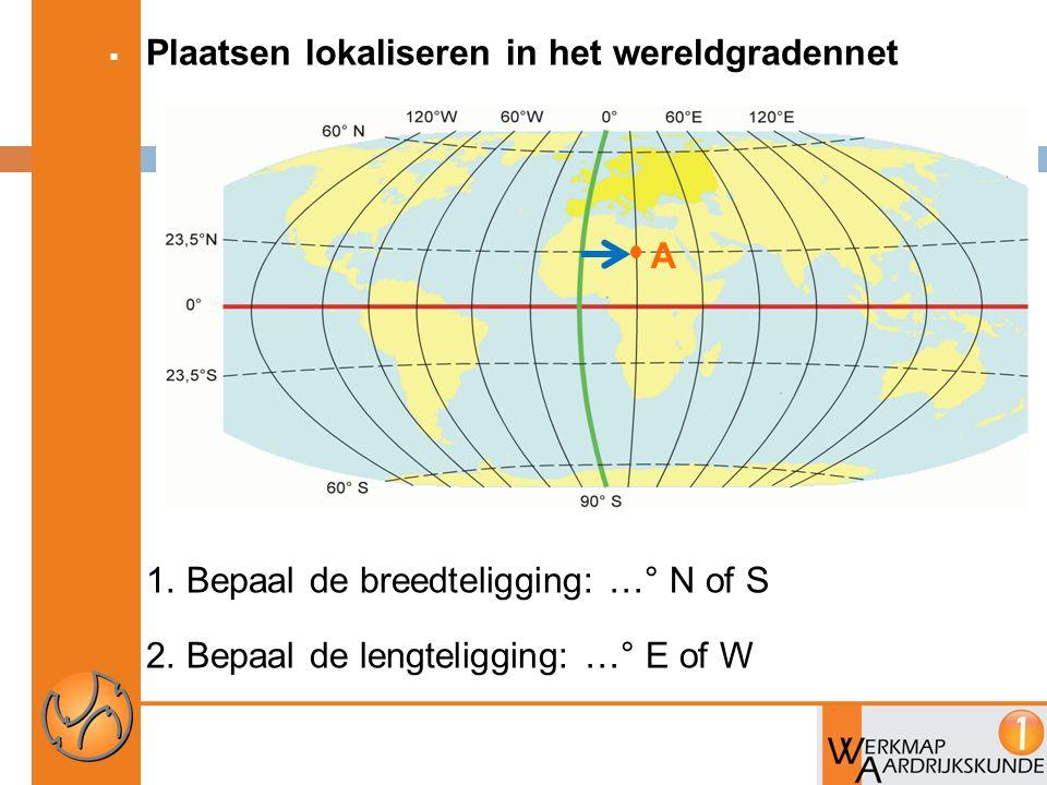  Plaatsen lokaliseren in het wereldgradennet 1. Bepaal de breedteligging: …° N of S 2. Bepaal de lengteligging: …° E of W A