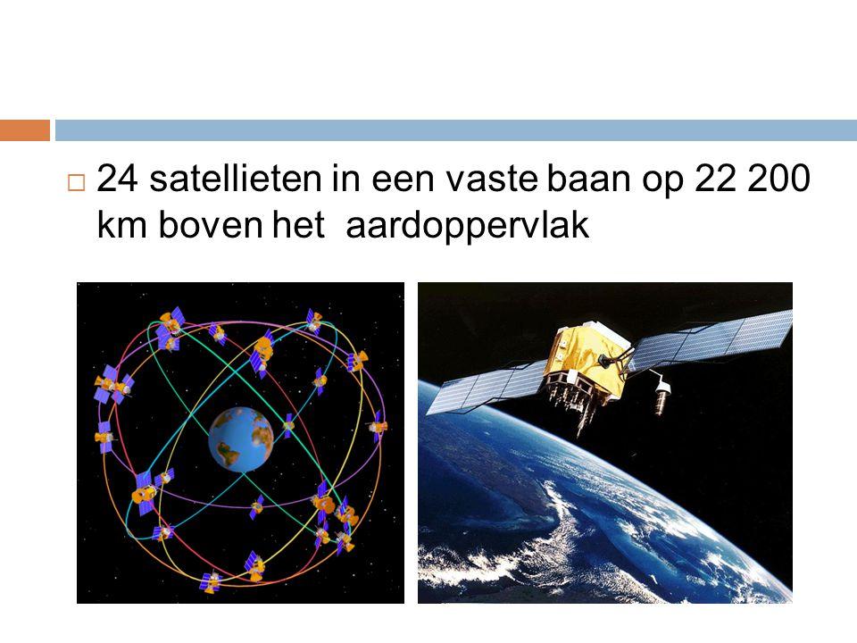  24 satellieten in een vaste baan op 22 200 km boven het aardoppervlak