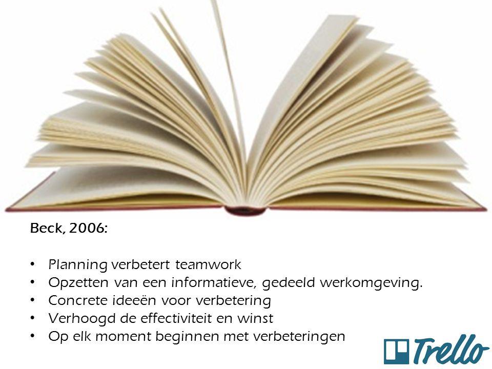 Beck, 2006: Planning verbetert teamwork Opzetten van een informatieve, gedeeld werkomgeving. Concrete ideeën voor verbetering Verhoogd de effectivitei