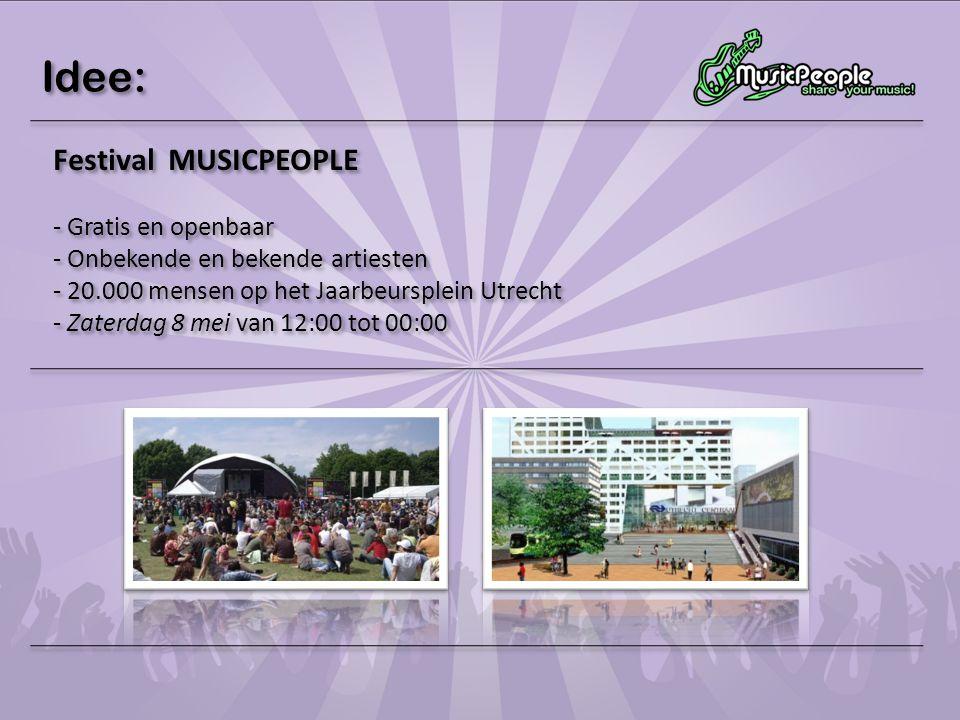 Idee: Festival MUSICPEOPLE - Gratis en openbaar - Onbekende en bekende artiesten - 20.000 mensen op het Jaarbeursplein Utrecht - Zaterdag 8 mei van 12