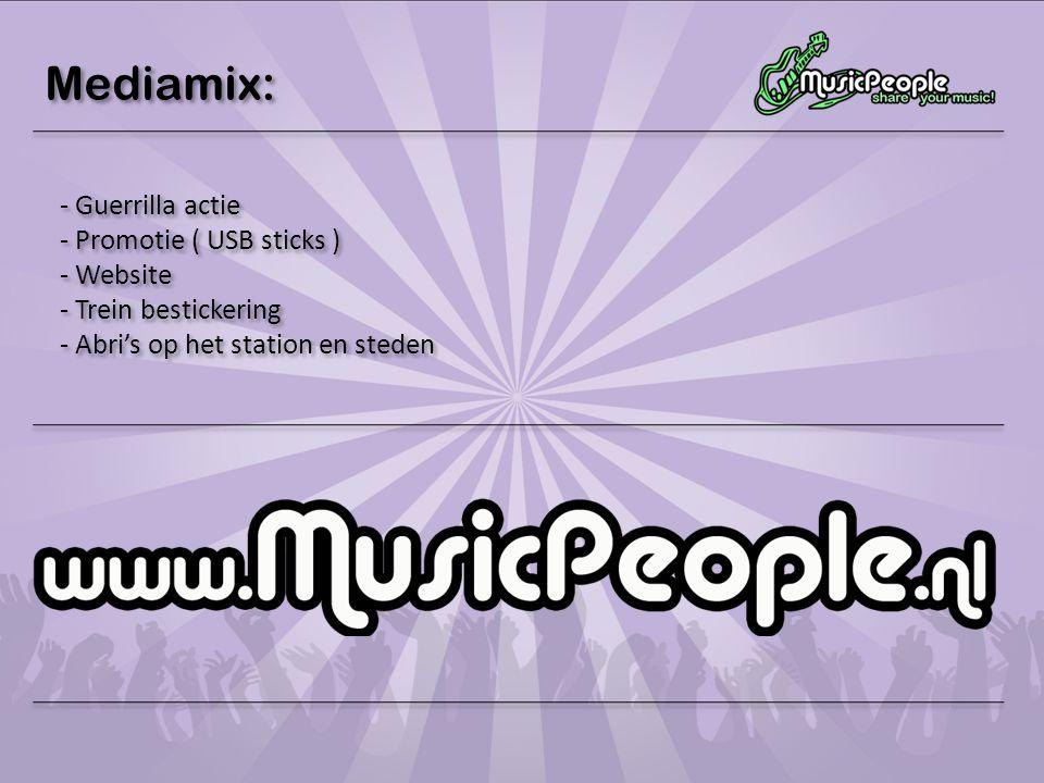 Mediamix: - Guerrilla actie - Promotie ( USB sticks ) - Website - Trein bestickering - Abri's op het station en steden - Guerrilla actie - Promotie (