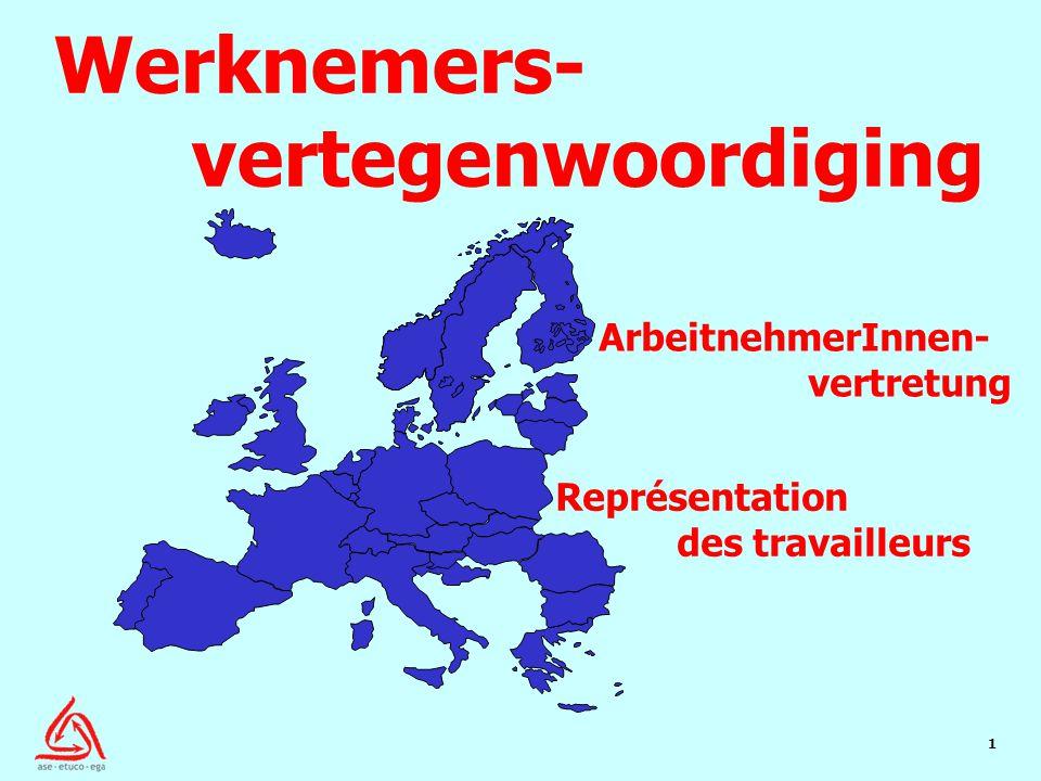 1 Représentation des travailleurs ArbeitnehmerInnen- vertretung Werknemers- vertegenwoordiging