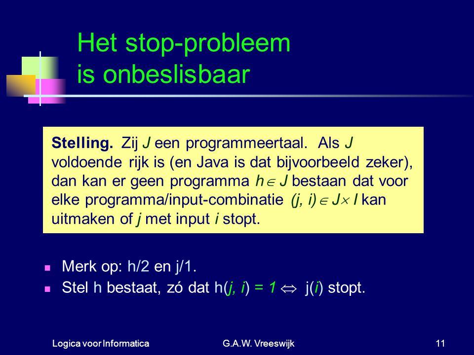 Logica voor InformaticaG.A.W. Vreeswijk11 Het stop-probleem is onbeslisbaar Merk op: h/2 en j/1. Stel h bestaat, zó dat h(j, i) = 1  j(i) stopt. Stel