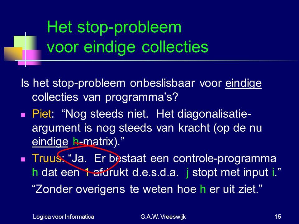 Logica voor InformaticaG.A.W. Vreeswijk15 Het stop-probleem voor eindige collecties Is het stop-probleem onbeslisbaar voor eindige collecties van prog