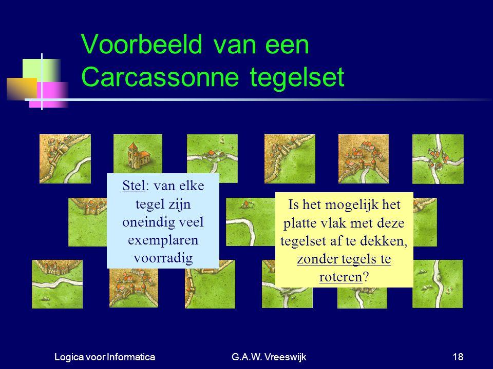 Logica voor InformaticaG.A.W. Vreeswijk18 Voorbeeld van een Carcassonne tegelset Stel: van elke tegel zijn oneindig veel exemplaren voorradig Is het m