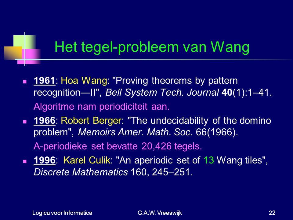 Logica voor InformaticaG.A.W. Vreeswijk22 Het tegel-probleem van Wang 1961: Hoa Wang: