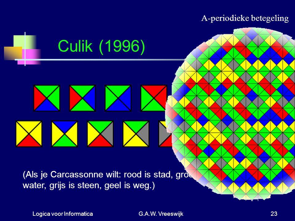 Logica voor InformaticaG.A.W. Vreeswijk23 Culik (1996) (Als je Carcassonne wilt: rood is stad, groen is land, blauw is water, grijs is steen, geel is