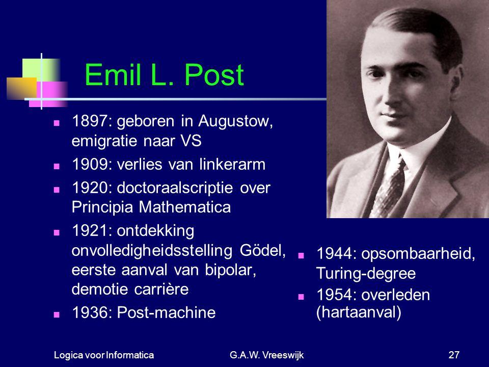 Logica voor InformaticaG.A.W. Vreeswijk27 Emil L. Post 1897: geboren in Augustow, emigratie naar VS 1909: verlies van linkerarm 1920: doctoraalscripti