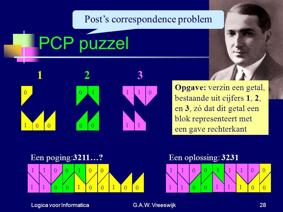 Logica voor InformaticaG.A.W. Vreeswijk28 0 1 0 0 11 0 11 PCP puzzel 0 1 00 123 Opgave: verzin een getal, bestaande uit cijfers 1, 2, en 3, zó dat dit