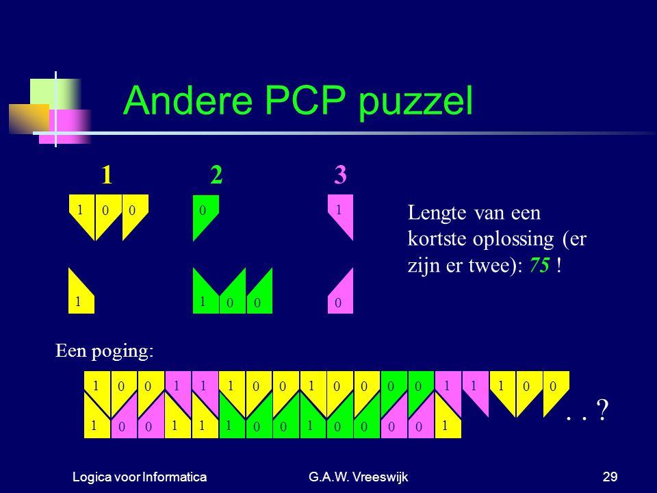 Logica voor InformaticaG.A.W. Vreeswijk29 1 000 1 0 0 1 0 1 Andere PCP puzzel 123 Een poging: 1 00 1 1 0 1 0 1 00 1 1 00 1 0 1 0 0 0 1 0 0 1 0 1 0 1 0