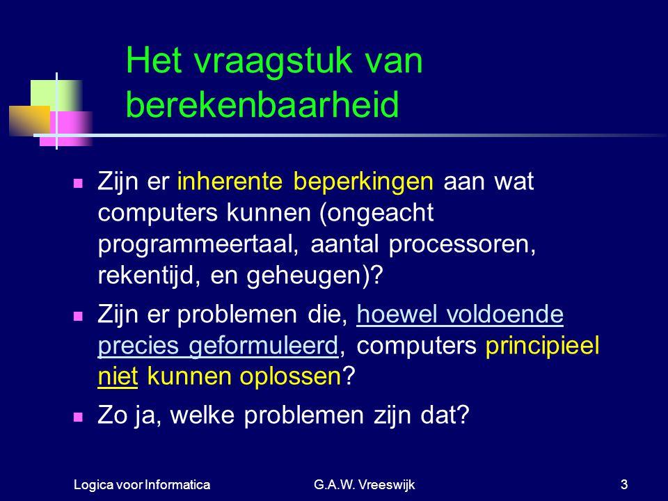 Logica voor InformaticaG.A.W. Vreeswijk3 Het vraagstuk van berekenbaarheid Zijn er inherente beperkingen aan wat computers kunnen (ongeacht programmee