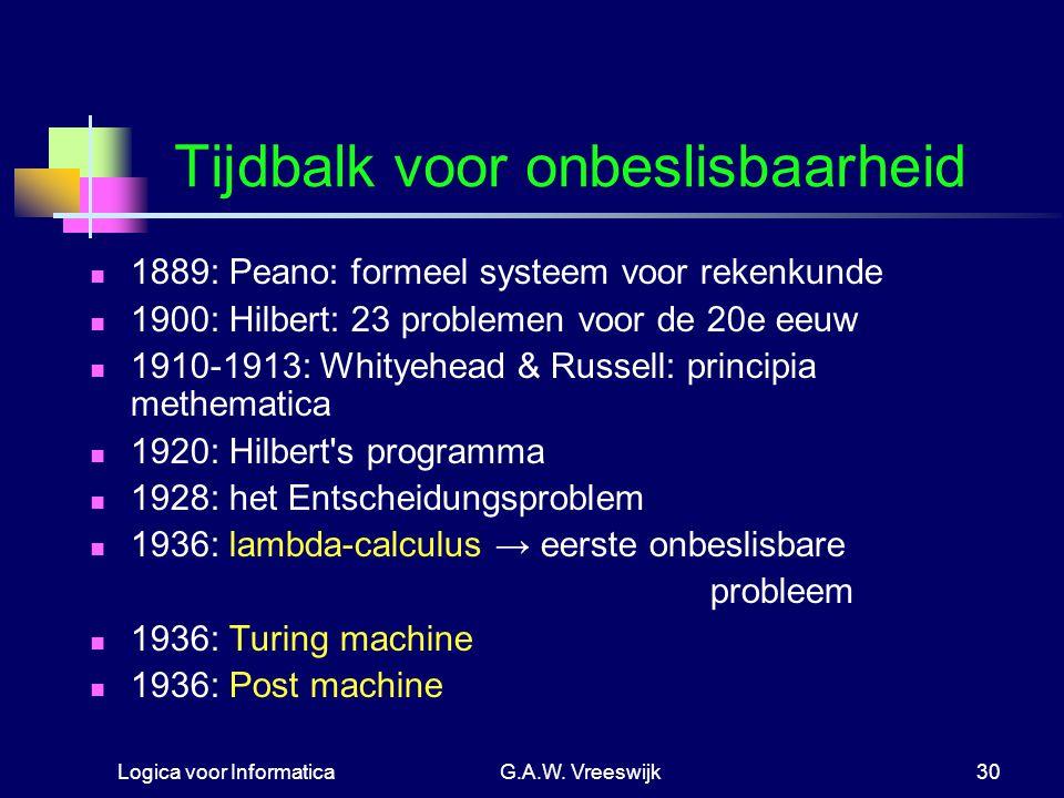 Logica voor InformaticaG.A.W. Vreeswijk30 Tijdbalk voor onbeslisbaarheid 1889: Peano: formeel systeem voor rekenkunde 1900: Hilbert: 23 problemen voor