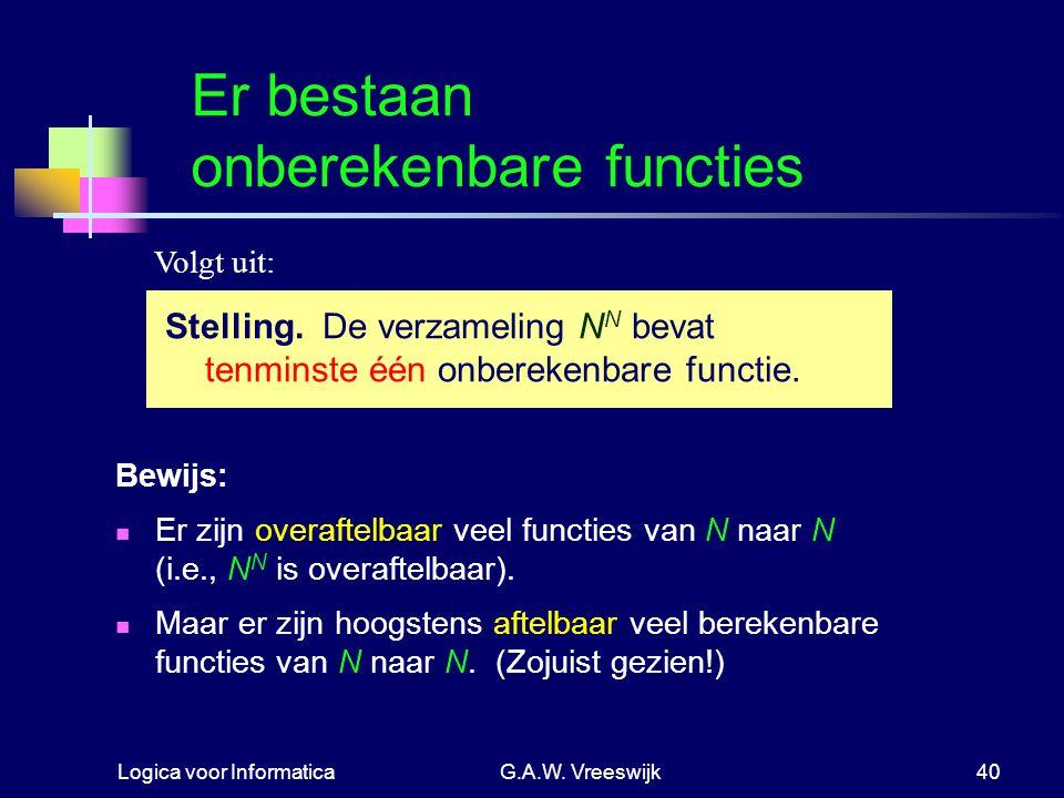 Logica voor InformaticaG.A.W. Vreeswijk40 Er bestaan onberekenbare functies Bewijs: Er zijn overaftelbaar veel functies van N naar N (i.e., N N is ove