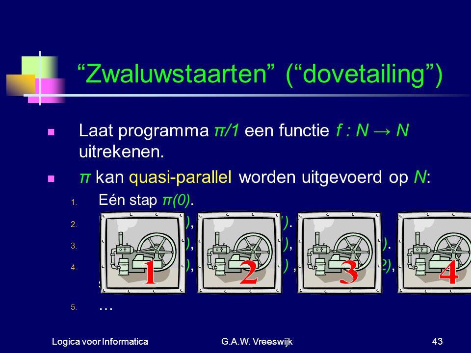 """Logica voor InformaticaG.A.W. Vreeswijk43 """"Zwaluwstaarten"""" (""""dovetailing"""") Laat programma π/1 een functie f : N → N uitrekenen. π kan quasi-parallel w"""
