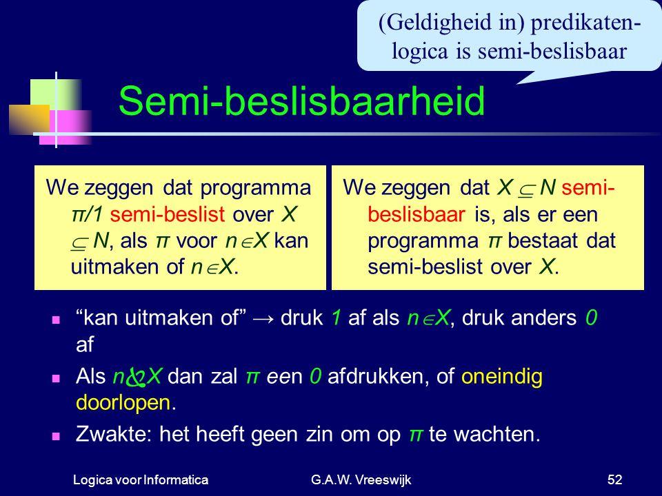 Logica voor InformaticaG.A.W. Vreeswijk52 Semi-beslisbaarheid We zeggen dat X  N semi- beslisbaar is, als er een programma π bestaat dat semi-beslist