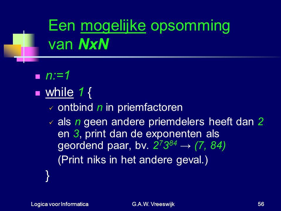 Logica voor InformaticaG.A.W. Vreeswijk56 Een mogelijke opsomming van NxN n:=1 while 1 { ontbind n in priemfactoren als n geen andere priemdelers heef