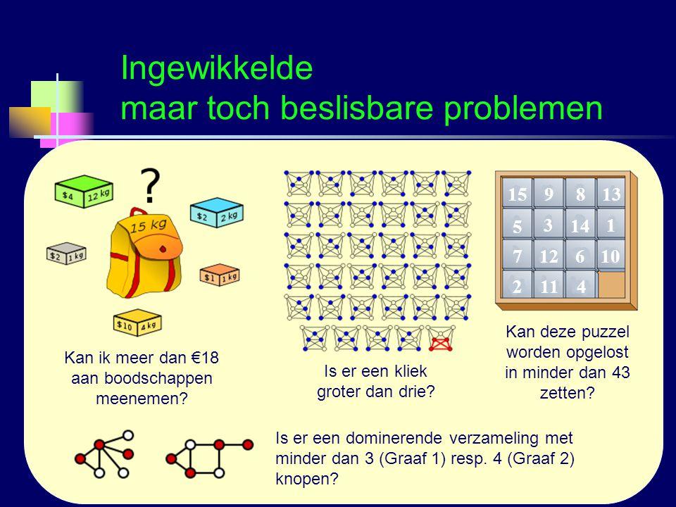 Logica voor InformaticaG.A.W. Vreeswijk6 Ingewikkelde maar toch beslisbare problemen Kan ik meer dan €18 aan boodschappen meenemen? Is er een kliek gr