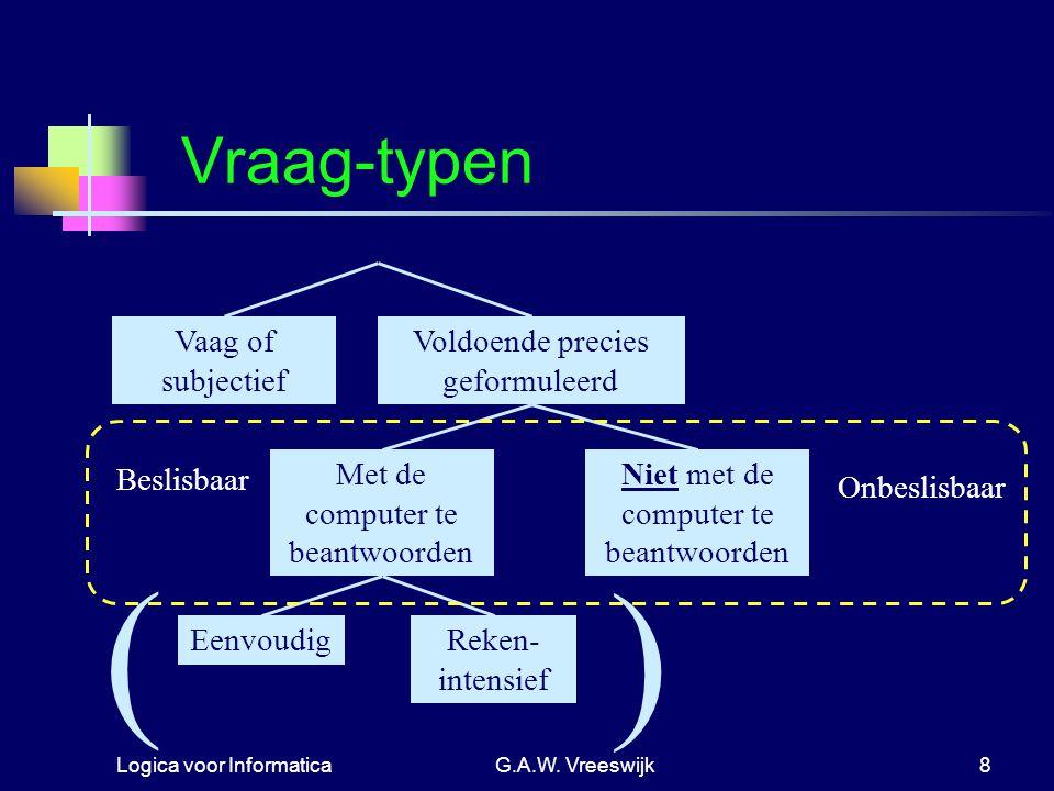 Logica voor InformaticaG.A.W. Vreeswijk8 Vraag-typen EenvoudigReken- intensief Met de computer te beantwoorden Niet met de computer te beantwoorden Va