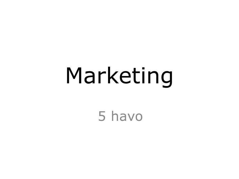 Marketing 5 havo