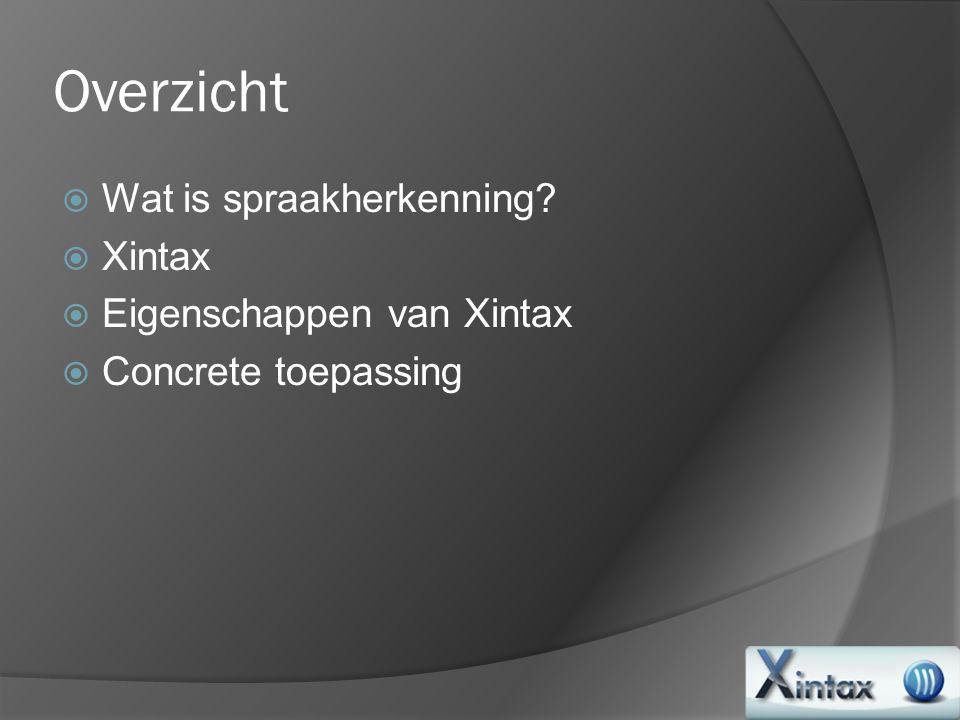 Overzicht  Wat is spraakherkenning?  Xintax  Eigenschappen van Xintax  Concrete toepassing