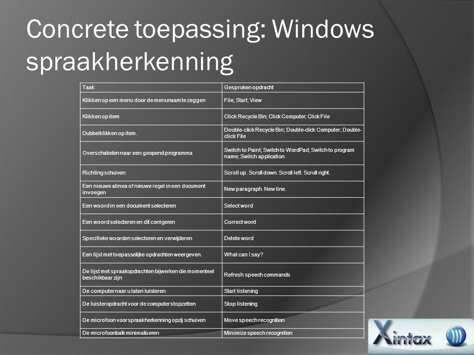Concrete toepassing: Windows spraakherkenning TaakGesproken opdracht Klikken op een menu door de menunaam te zeggenFile; Start; View Klikken op itemCl