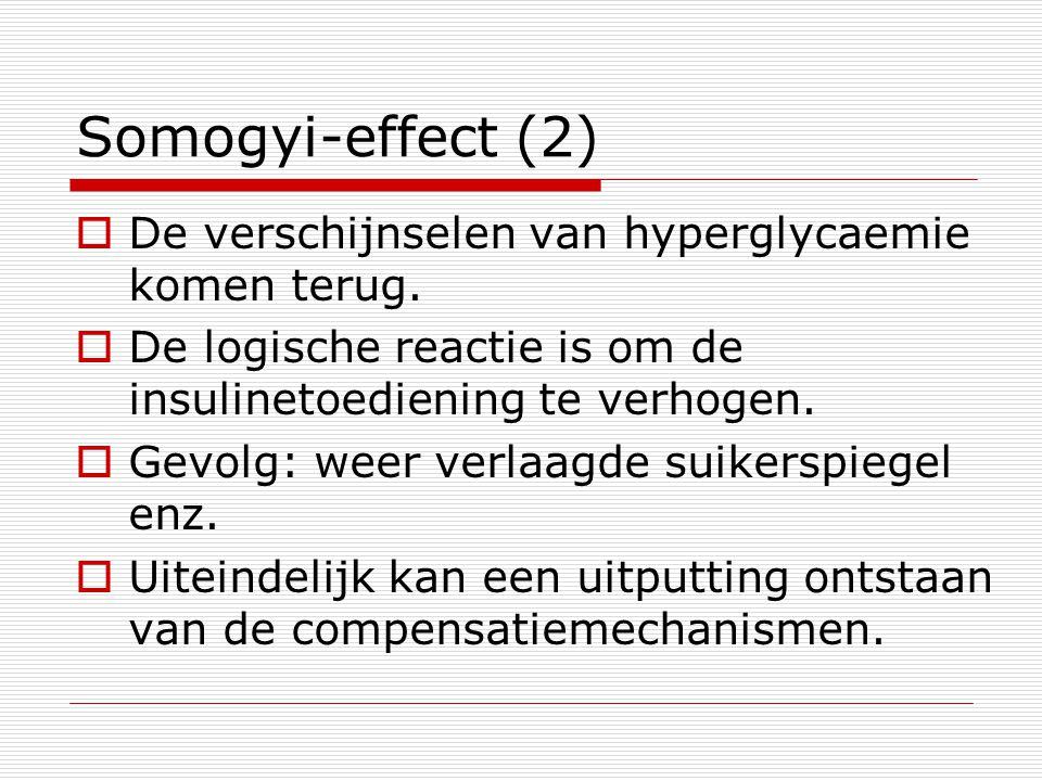 Somogyi-effect (2)  De verschijnselen van hyperglycaemie komen terug.  De logische reactie is om de insulinetoediening te verhogen.  Gevolg: weer v