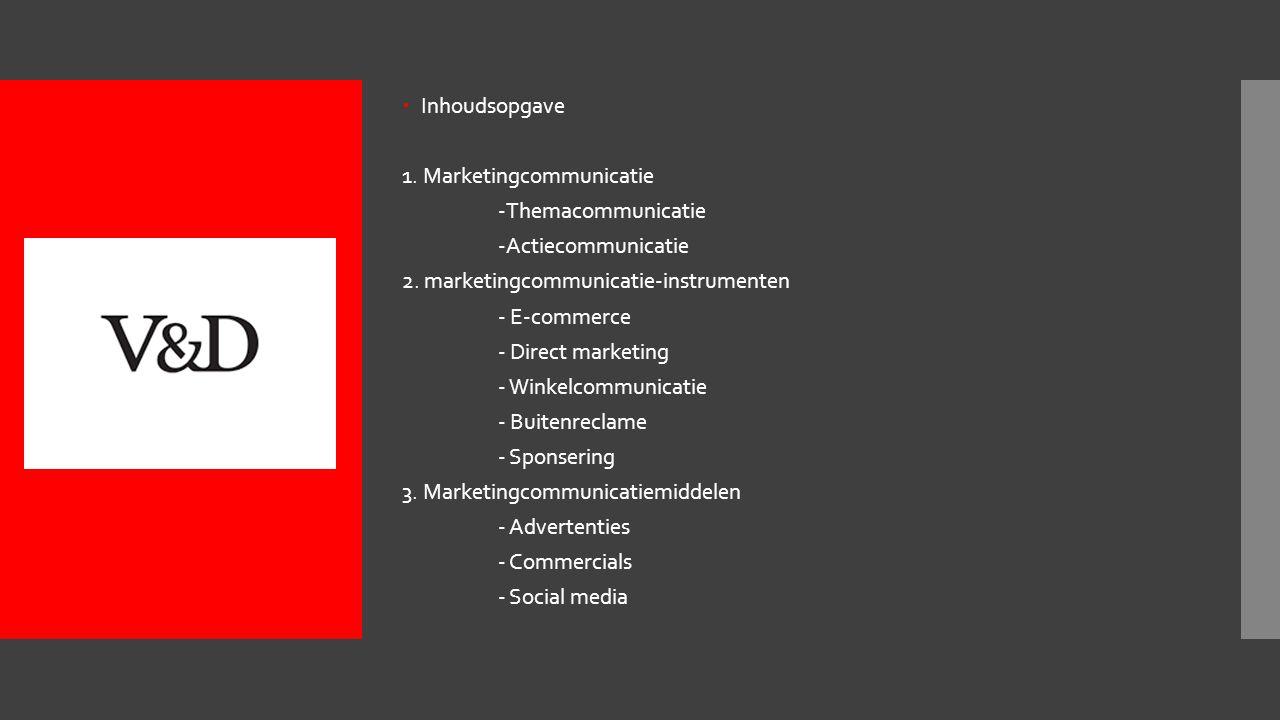  Inhoudsopgave 1.Marketingcommunicatie -Themacommunicatie -Actiecommunicatie 2.