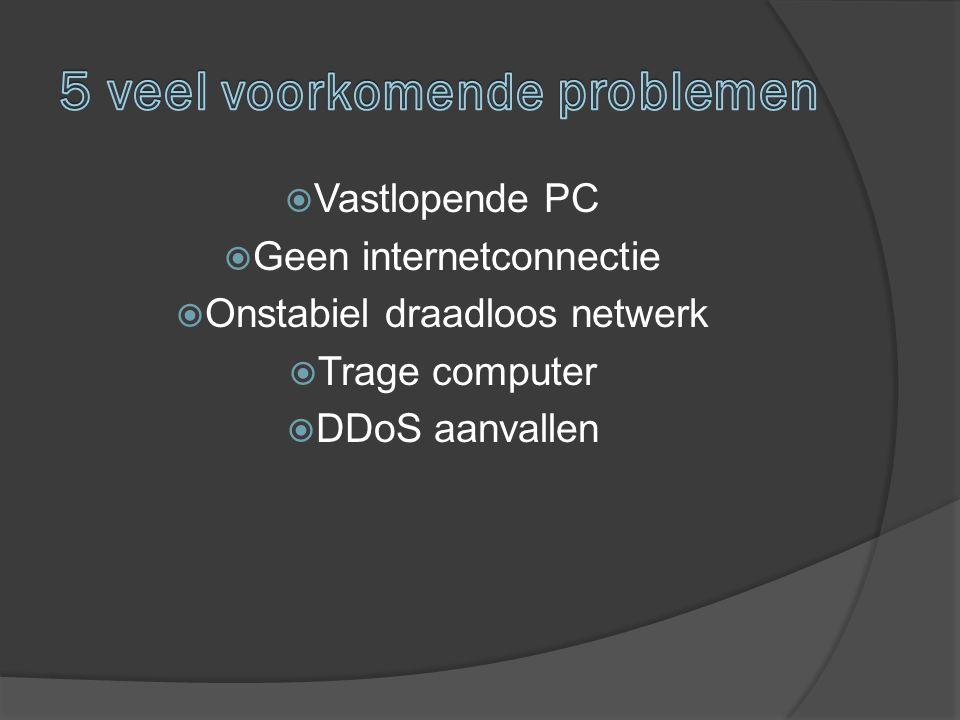  Vastlopende PC  Geen internetconnectie  Onstabiel draadloos netwerk  Trage computer  DDoS aanvallen
