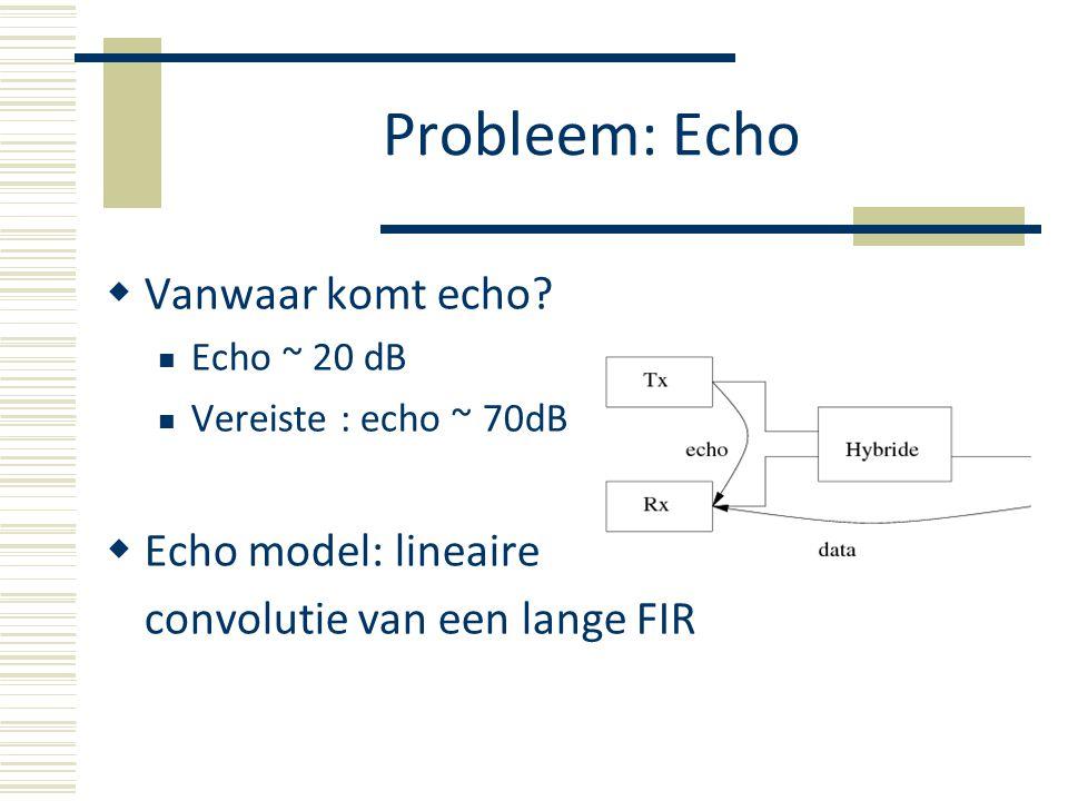 Oplossing  Principe  Lage bemonsteringsfrequenties (< 10 kHz) Schatting in tijdsdomein Canceler update in het frequentiedomein Probleem: FIR tijdsdomein filter : onbetaalbaar bij hogere bemonsteringsfrequenties