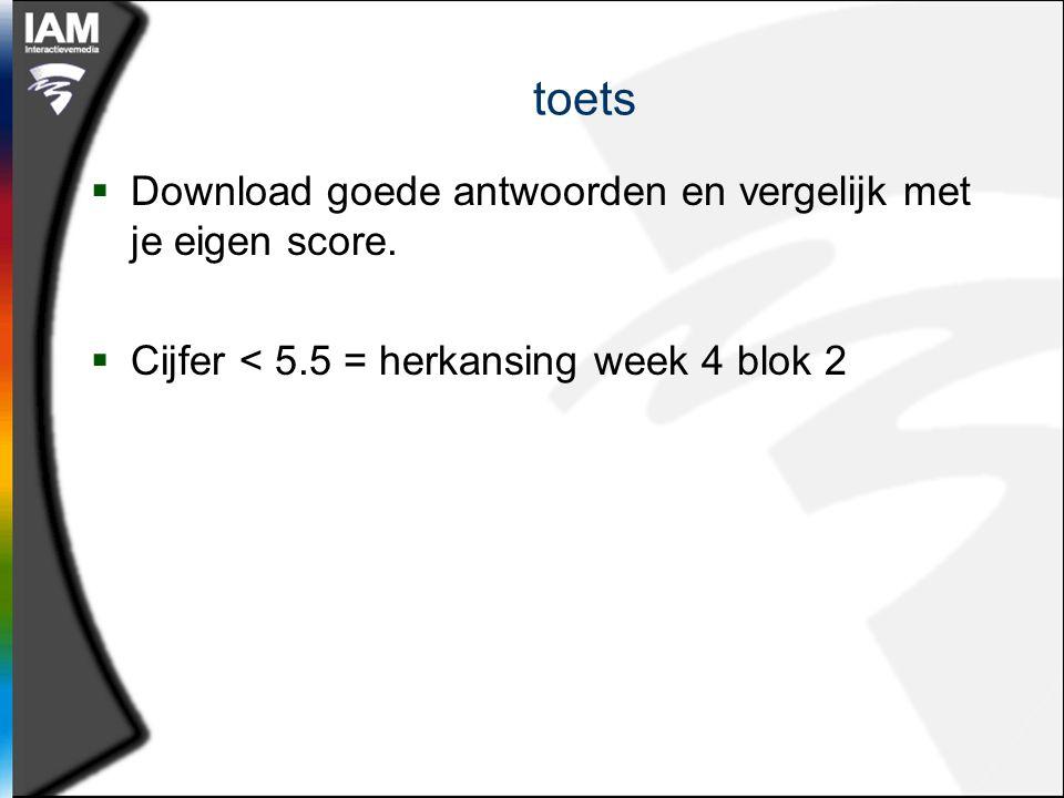 toets  Download goede antwoorden en vergelijk met je eigen score.