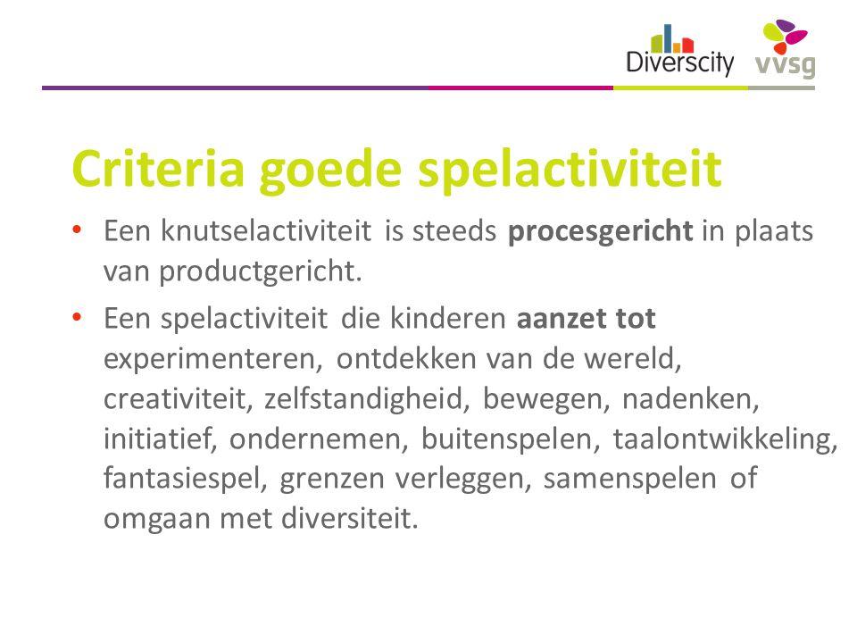 Criteria goede spelactiviteit Een knutselactiviteit is steeds procesgericht in plaats van productgericht.