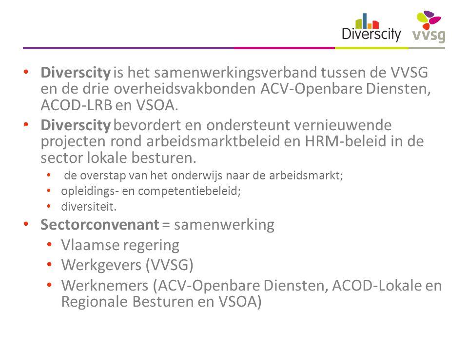Diverscity is het samenwerkingsverband tussen de VVSG en de drie overheidsvakbonden ACV-Openbare Diensten, ACOD-LRB en VSOA.