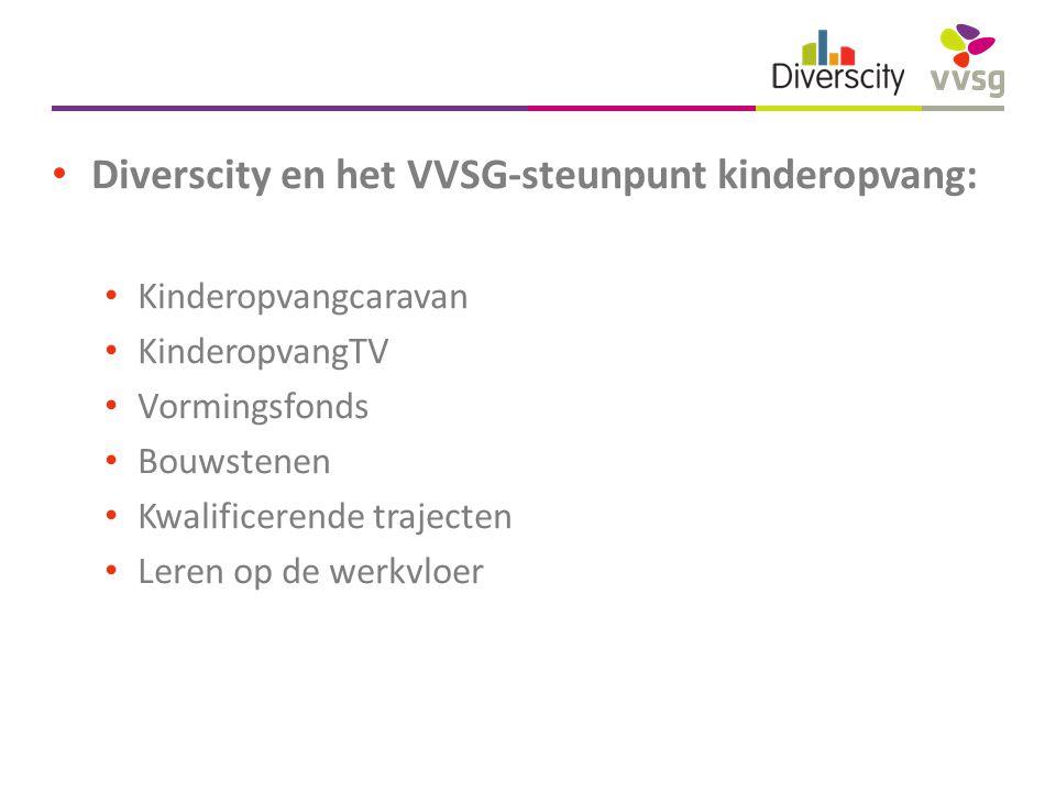 Diverscity en het VVSG-steunpunt kinderopvang: Kinderopvangcaravan KinderopvangTV Vormingsfonds Bouwstenen Kwalificerende trajecten Leren op de werkvloer