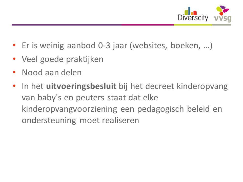 Er is weinig aanbod 0-3 jaar (websites, boeken, …) Veel goede praktijken Nood aan delen In het uitvoeringsbesluit bij het decreet kinderopvang van baby s en peuters staat dat elke kinderopvangvoorziening een pedagogisch beleid en ondersteuning moet realiseren