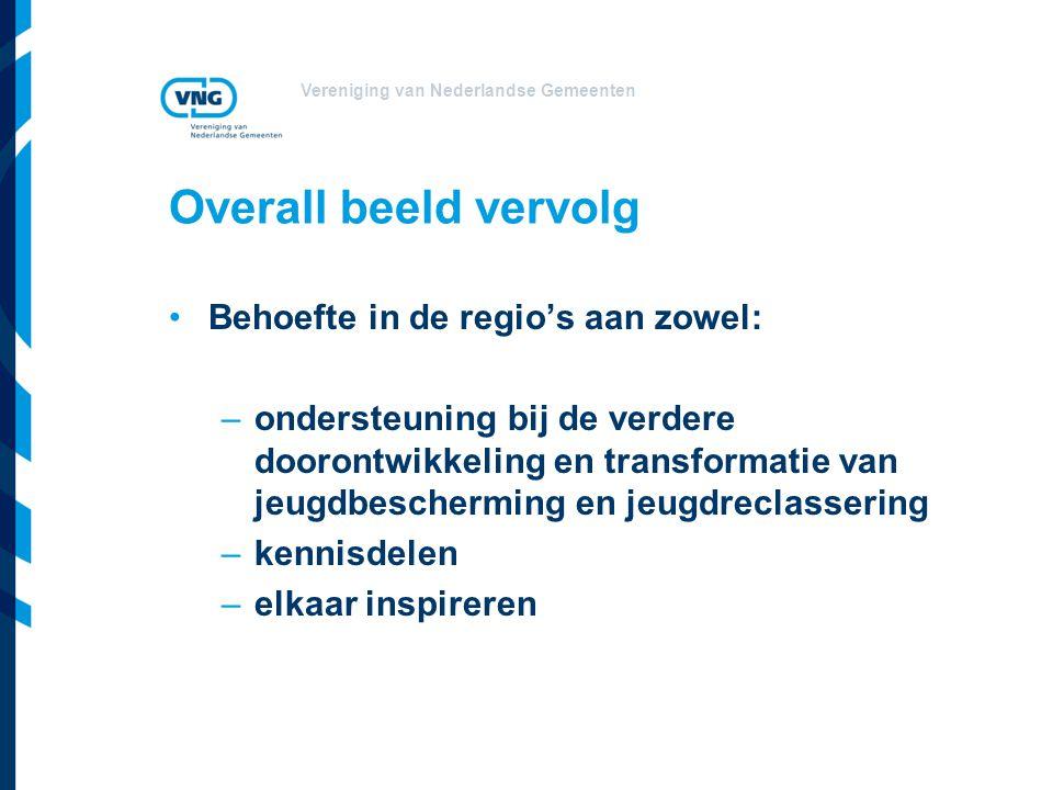 Vereniging van Nederlandse Gemeenten Overall beeld vervolg Behoefte in de regio's aan zowel: –ondersteuning bij de verdere doorontwikkeling en transformatie van jeugdbescherming en jeugdreclassering –kennisdelen –elkaar inspireren