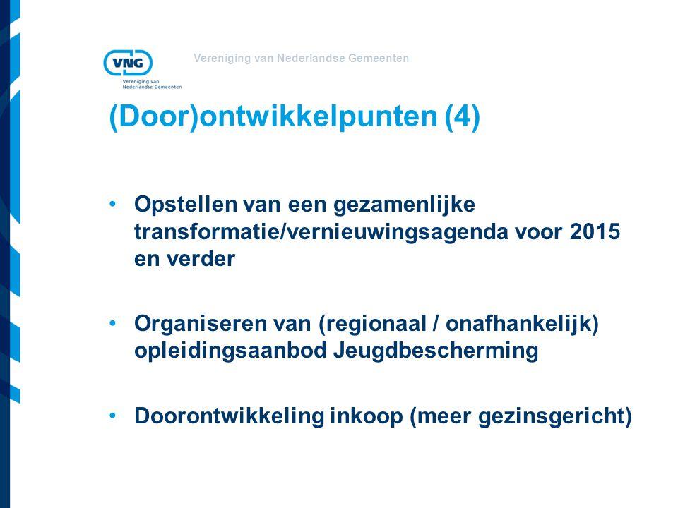 Vereniging van Nederlandse Gemeenten (Door)ontwikkelpunten (4) Opstellen van een gezamenlijke transformatie/vernieuwingsagenda voor 2015 en verder Organiseren van (regionaal / onafhankelijk) opleidingsaanbod Jeugdbescherming Doorontwikkeling inkoop (meer gezinsgericht)