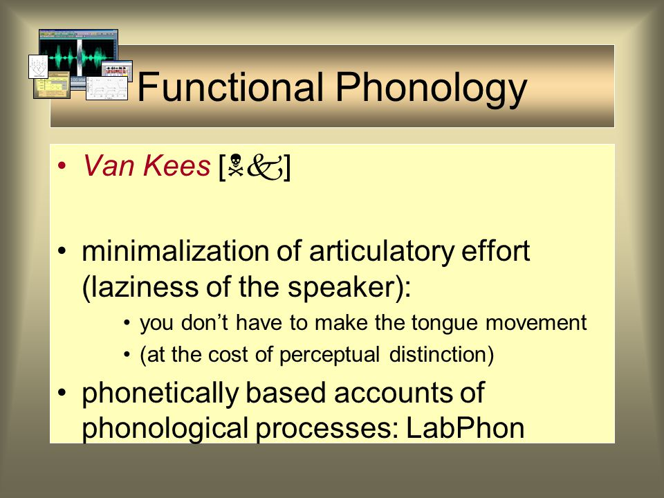Phonology Phonologists are interested in the sound system of a language They want to know the function of sounds in the language (what are the phoneme
