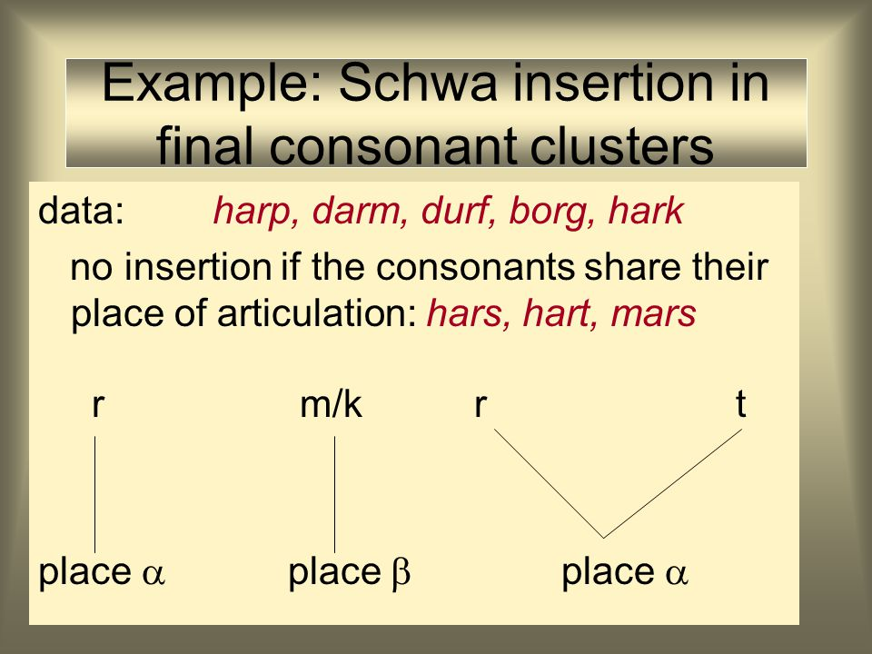 Example: Schwa insertion in final consonant clusters data: harp, darm, durf, borg, hark rm/k place  place 