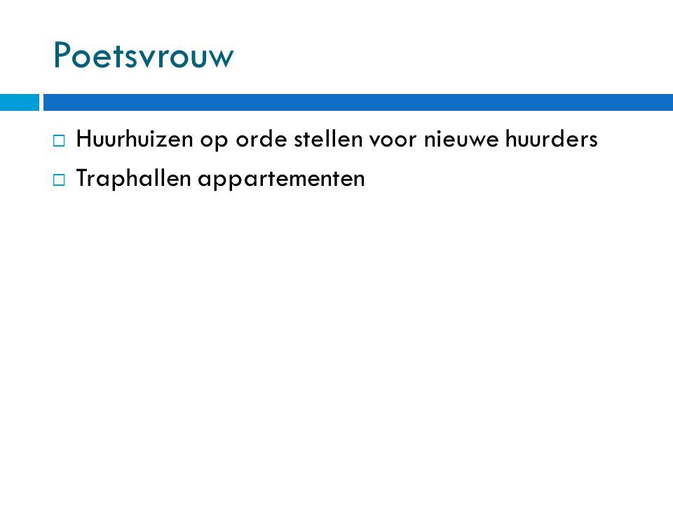 Poetsvrouw  Huurhuizen op orde stellen voor nieuwe huurders  Traphallen appartementen